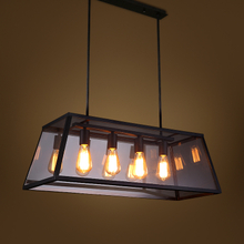 RH Metal Glass Box Shape Edison Bulbs Pendant Lighting Modern Filament Chandelier