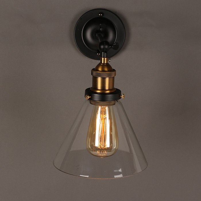 Indoor Wall Mounted Glass Lighting Filament clear funnel sconce